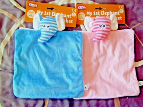 My 1st Elephant Baby Comfort Blanket Rattle Newborn Girl Pink Blue Boy Comforter
