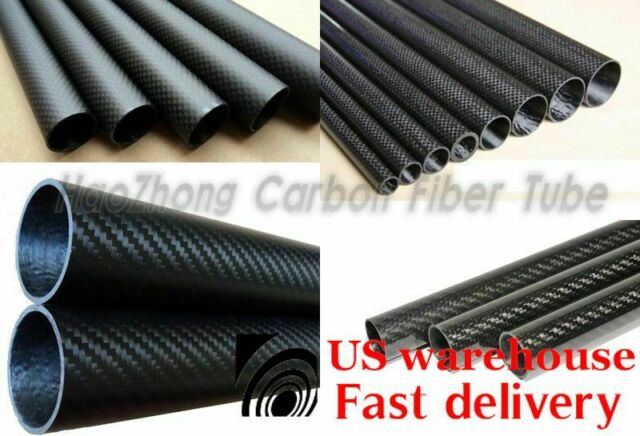 Matte 19mm OD x 16mm ID x 1000mm 3K Roll Carbon Fiber Tube Rod Quadcopter Drone