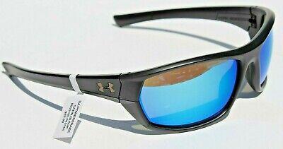 New $90 UA Under Armour Powerbreak Sport Sunglasses Black Blue Mirror