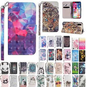3D-Pattern-Magnetic-Leather-Wallet-Flip-Case-Cover-For-Apple-iPhone-XS-XR-X-Max