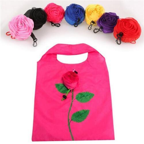 Portable Shopping Bag Folding Rose Flower Shape Eco-friendly Reusable Tote JD