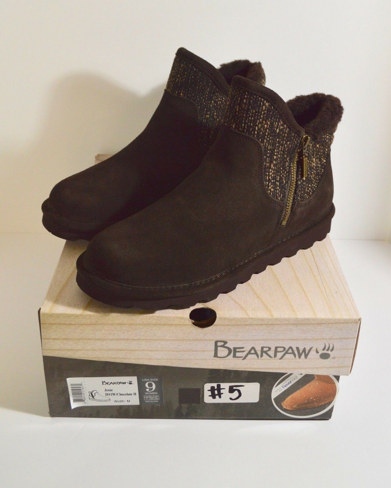 BearPaw Josie Women's Suede Zip Low Cut Booties Booties Booties Chocolate Size 9M New With Box 72c8dc