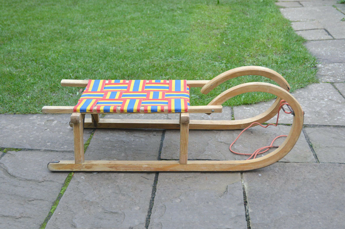 Vintage old wooden sleigh wooden sledge snow sleigh - FREE POSTAGE