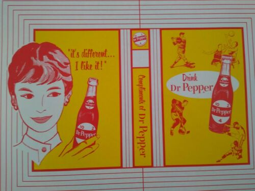 """RARE 1950s DR PEPPER /""""Its Different/"""" SCHOOL BOOK COVER SIGN....NOS /& NICE!"""