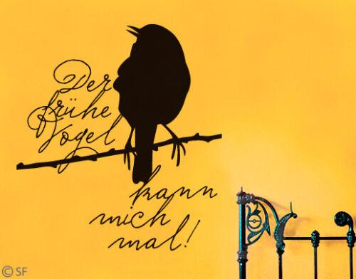Wandtattoo der frühe Vogel Kann mich mal Schlafzimmer Kinderzimmer Flur uss391