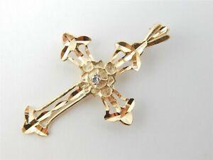 14K-YELLOW-GOLD-DIAMOND-CUT-CROSS-DIAMOND-ACCENT-PENDANT