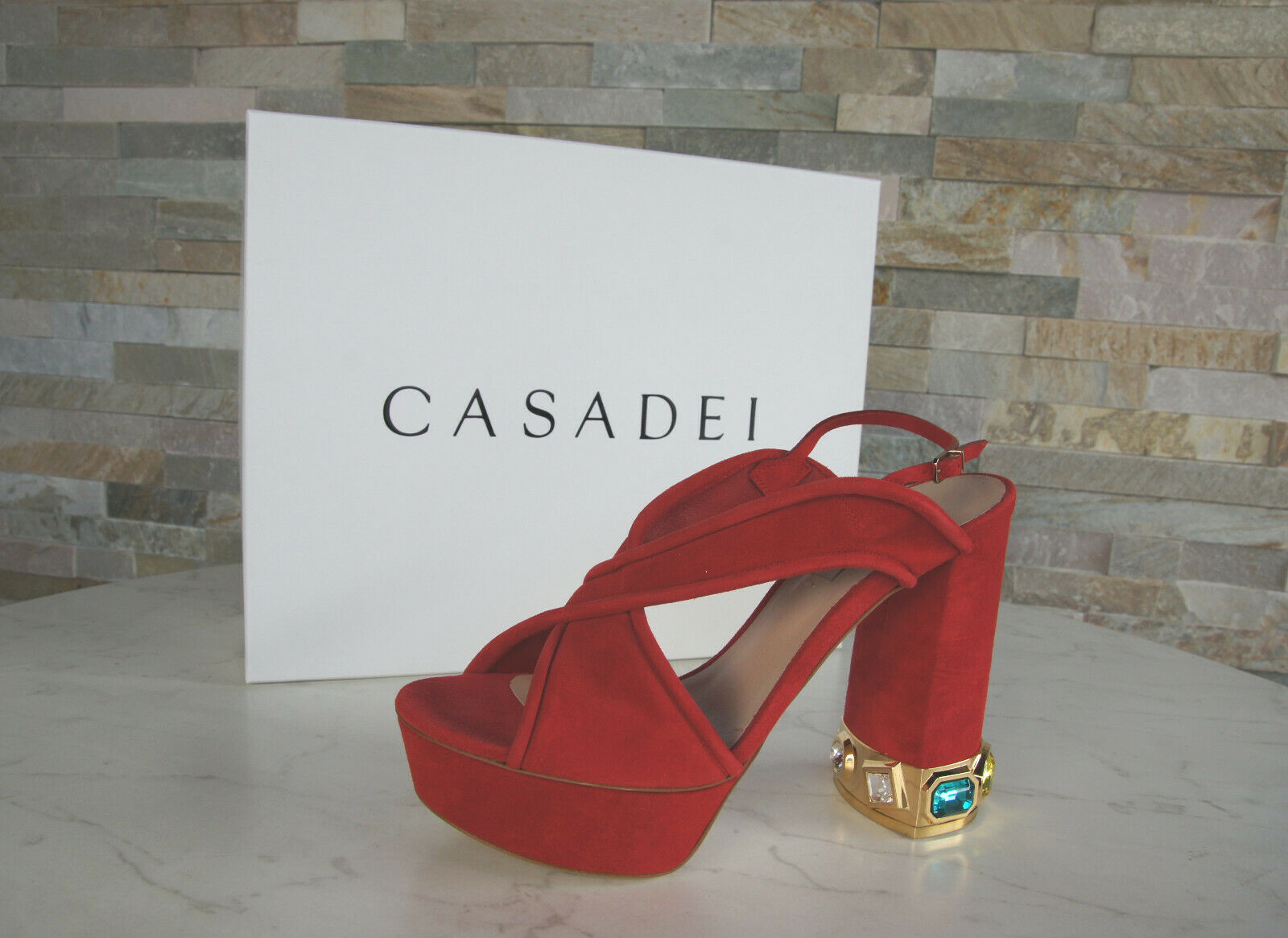 CASADEI Gr 37,5 Sandaletten High Heels Abendschuhe Schuhe rot neu ehem