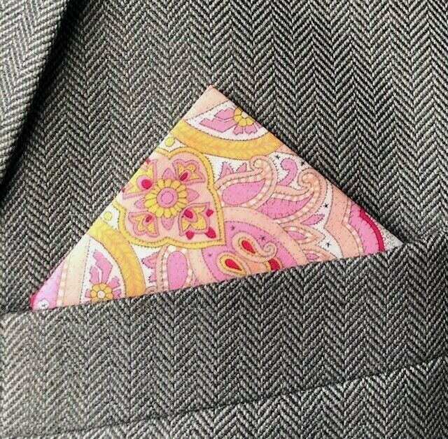 SUPERNOVA Pink Liberty Paisley Pocket Square Handkerchief Mod Suit Wedding