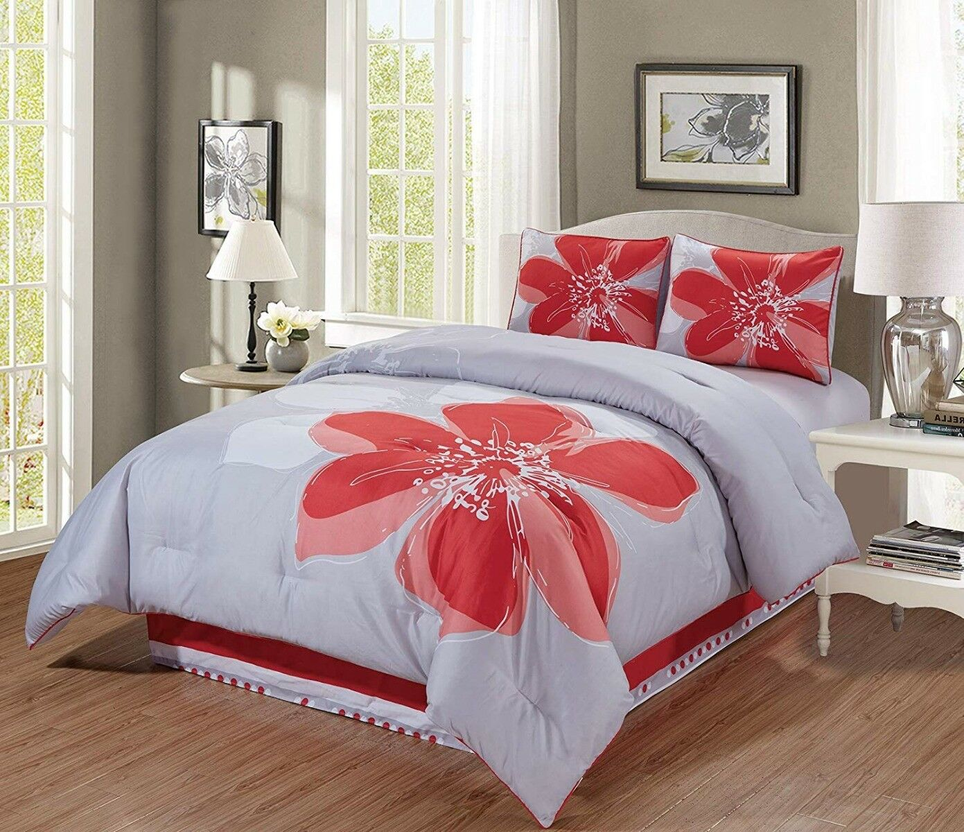 4 Pc Coral Orange grau Weiß Hibiscus Floral QUEEN Größe Comforter Set Bedding