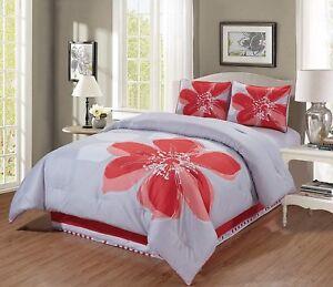 4-Pc-Coral-Orange-Grey-White-Hibiscus-Floral-Bedding-QUEEN-Size-Comforter-Set