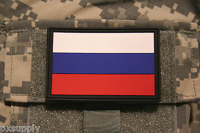 "russia flag patch pvc hook and loop backing russian tactical 3"" x 2"""