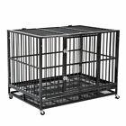 Walcut USPT1002 48 inch Heavy Duty Strong Metal Pet Dog Cage - Black