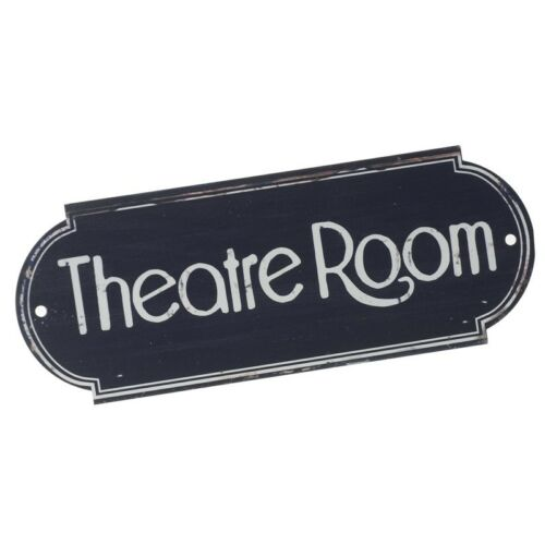 Metal Vintage Navy Blue /& White /'Theatre Room/' Door Cinema Drama Plaque 20x7.5cm