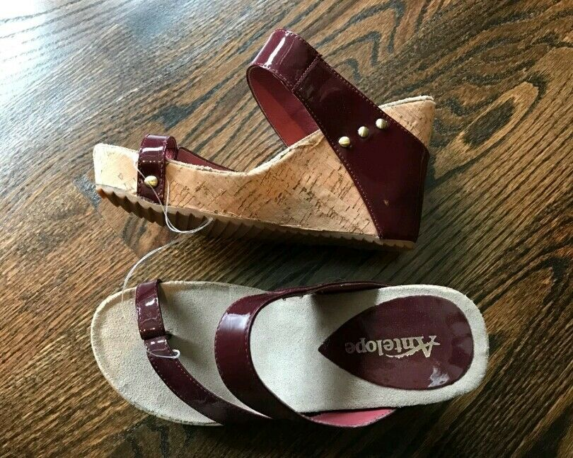 Antelope Damens Wedge patent Sandale Maroon ROT patent Wedge Leder Größe 7 , 37 756a27