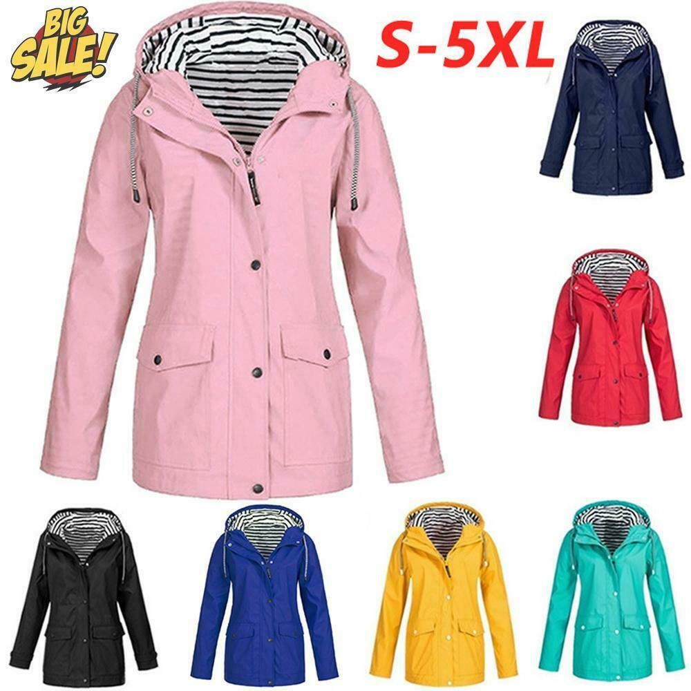 Plus Size Womens Waterproof Raincoat Ladies Outdoor Wind Rain Forest Jacket Coat