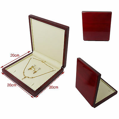 Luxury Real Wood Mahogany Premium Chain Bracelet Rings Jewellery Gift Box Set
