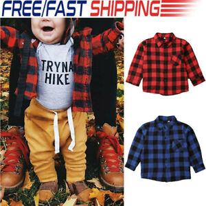 Toddler-Kids-Baby-Girls-Long-Sleeve-Plaid-Shirt-Blouse-T-shirt-Tees-Tops-Clothes