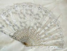 SPANISH SILVER FLOWER LACE WHITE HAND FAN FANCY WEDDING DANCE BRIDAL WOMEN PARTY