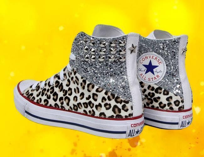 Converse All Star mit Glitter Silber und Leopardino Gefleckt Piu' Spitze