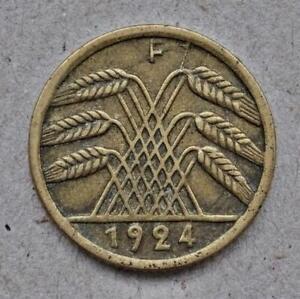 Germany-5-Rentenpfennig-Coin-1924-F-Weimar-Republic-KM-32-Very-Fine-310