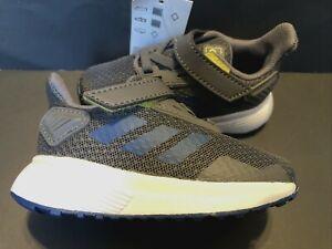 Boys Size 5 Sneakers ADIDAS DURAMO 91 GREY HOOK LOOP Walking Shoes EUR 20
