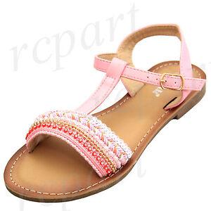 New girl kids sandals light pink buckle closure casual open toe summer