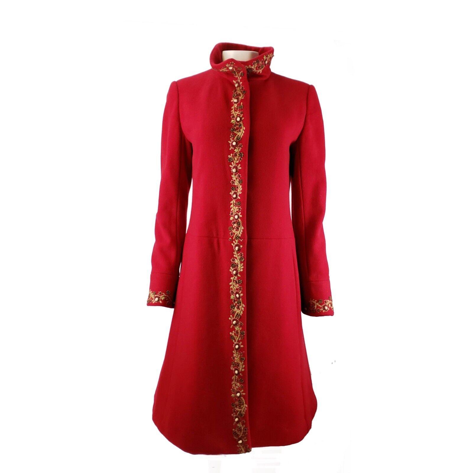 Oscar De La Renta Red Wool Cashmere Blend Embroidered Coat Womens 4 Funnel Neck
