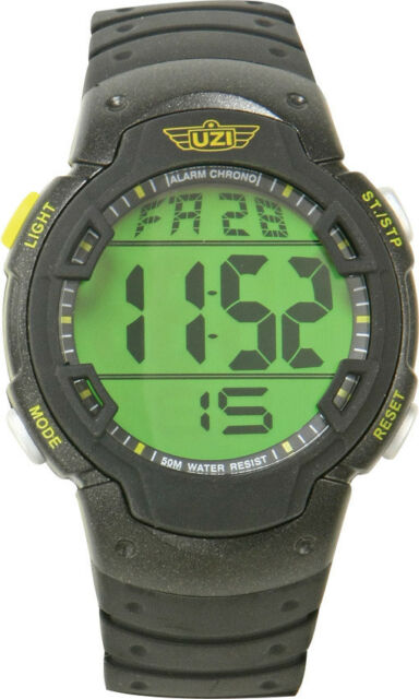 Uzi Guardian Watch UZI-89-R Black rubber wrist strap. Features enlarged digital