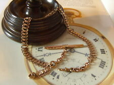FRENCH VICTORIAN 10CT ROSE GOLD/F FANCY LINK POCKET WATCH CHAIN/ALBERT.C~1890's