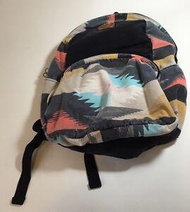Billabong-Backpack-Distressed-Faded-Book-bag-Tribal-Pattern-Yellow-Black-Orange