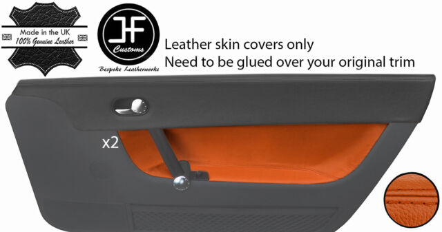 ORANGE STITCH FITS TRIUMPH STAG MK1 MK2 2X DOOR CARD LEATHER SKIN COVERS ONLY