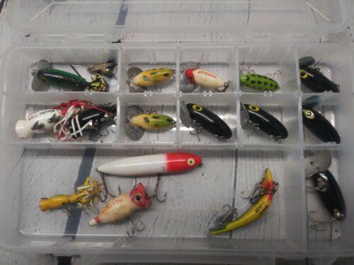 Details about  /VINTAGE FISHING LURE LOT HEDDON   JITTERBUG Hula Popper Sara Spook Prowler
