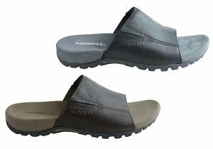 Mens-Merrell-Sandspur-Slide-Leather-Comfortable-Slides-Sandals-ModeShoesAU