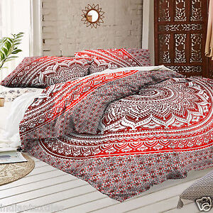 indian duvet cover red ombre mandala hippie bohemian queen quilt blanket cover ebay. Black Bedroom Furniture Sets. Home Design Ideas