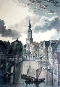 HAMBURG-KATHARINENKIRCHE-UND-FLEET-kolor-Grafik-um-1850-VARRALL-n-BATTY