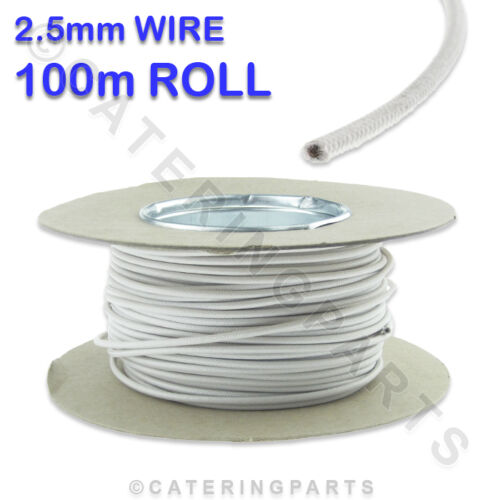 100m ROLL REEL OF 2.5mm WHITE SIAF HEAT RESISTANT HIGH TEMPERATURE WIRE CABLE