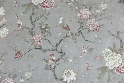 """GP /& J BAKER CURTAIN FABRIC DESIGN /""""Oriental Bird/"""" 4 METRES MOLE  LINEN BLEND"""