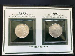 UNC-1878-S-Morgan-Dollar-first-year-of-issue-amp-Last-year-1921-Silver-Dollar