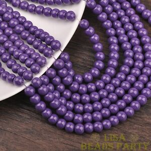 New-100pcs-4mm-Round-Glass-Loose-Spacer-Beads-Jewelry-Findings-Deep-Purple