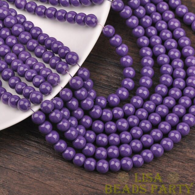 New 100pcs 4mm Round Glass Loose Spacer Beads Jewelry Findings Deep Purple