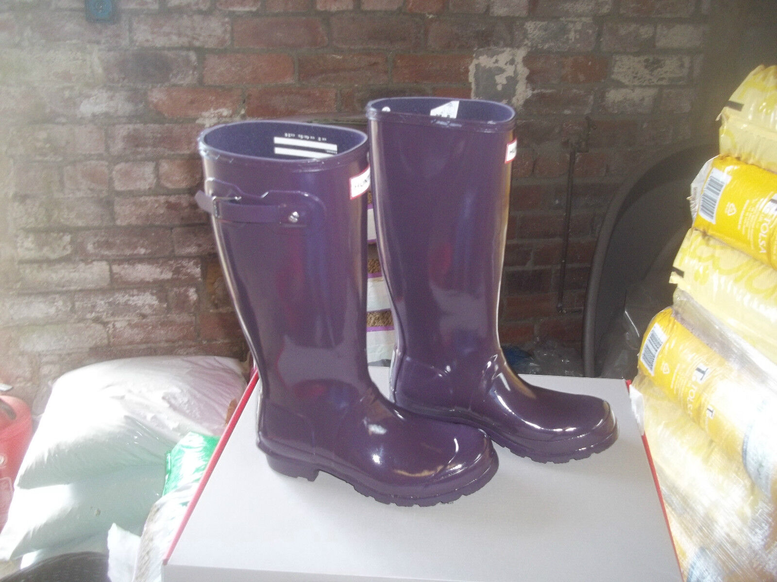 CHILDRENS GLOSS HUNTER  WELLINGTONS 1  IN HALIFAX SIZE 1 WELLINGTONS  PURPLE URCHIN TALL KIDS 327cdb