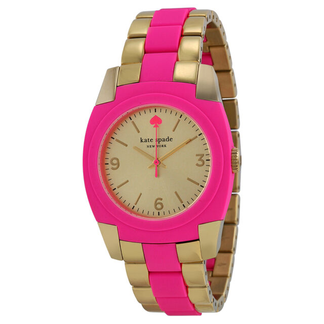 Kate Spade Champagne Dial Gold-plated Stainless Steel and Pink Polycarbonate