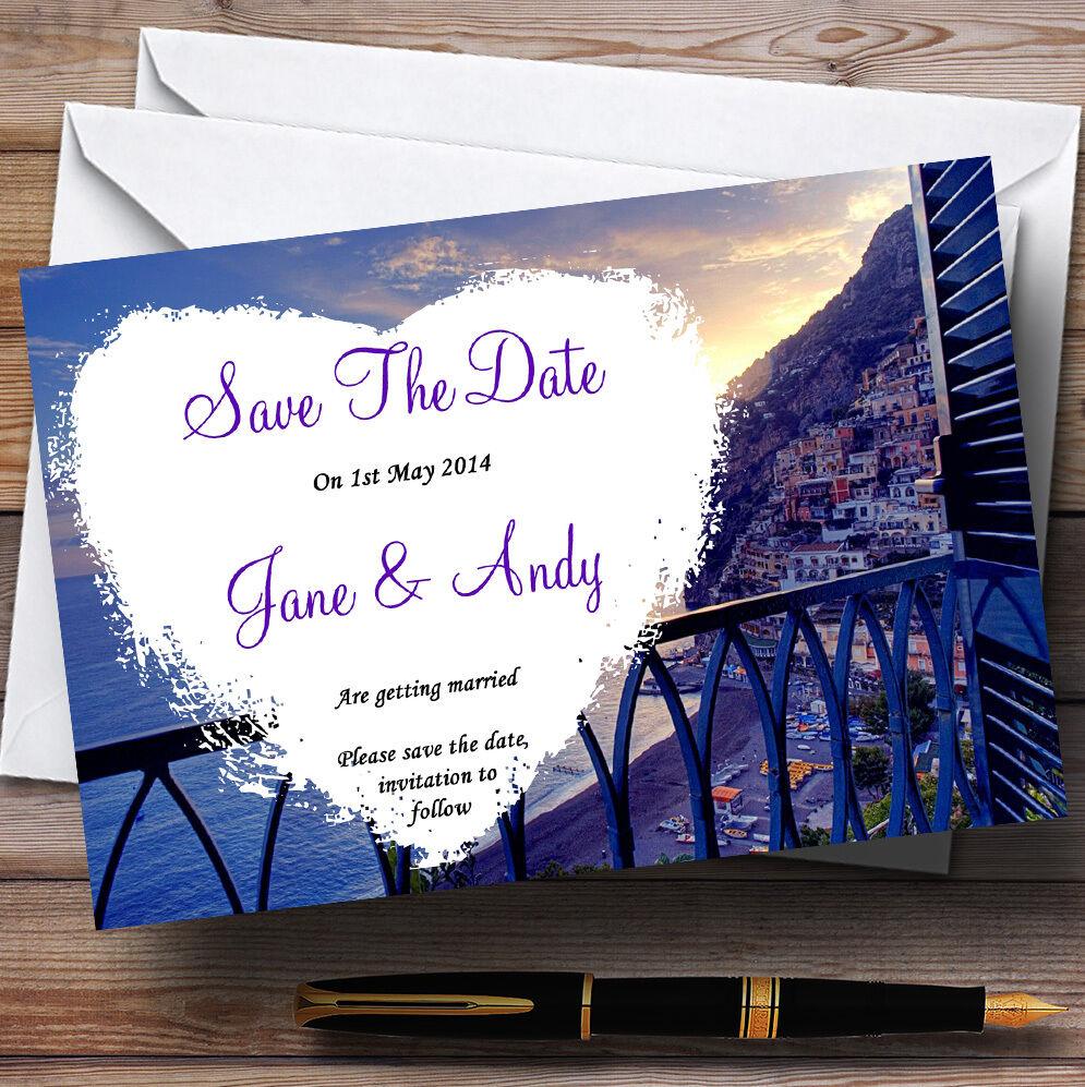 Amalfi Coast  Heart Heart Heart Personalised Wedding Save The Date Cards 194e3a