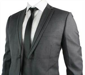 Mens Slim Fit Suit Charcoal Grey Black Trim Blazer Trouser Work ...