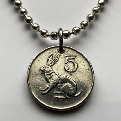 1980 1983 Zimbabwe 5 cents coin pendant rabbit bunny soapstone bird Shona 000784