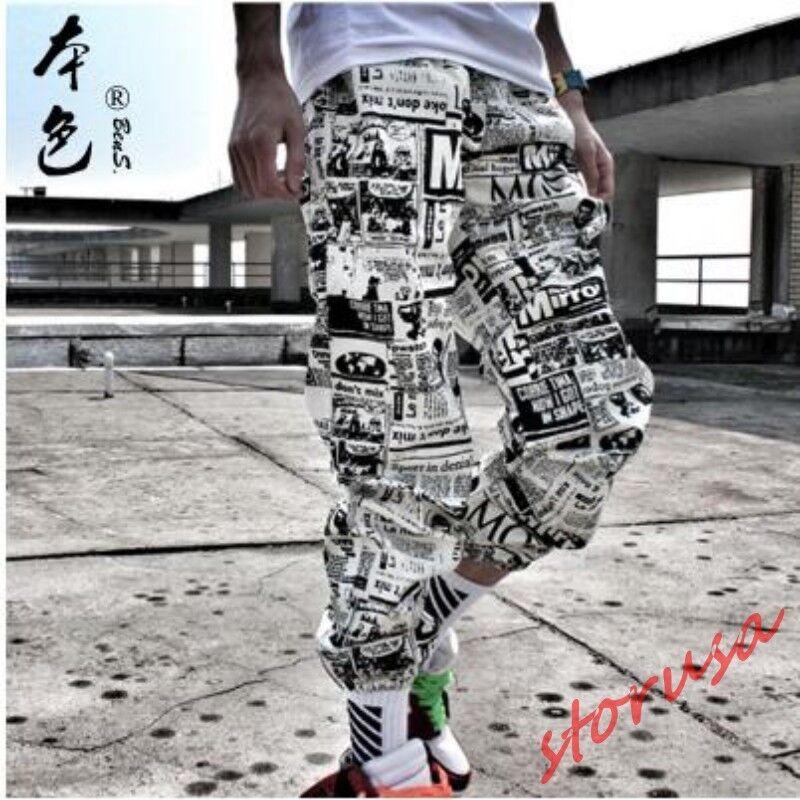 Mens Fashion Newspaper Printed Loose Fit Casual Hip Pop Trouser Skinny Pants Sz