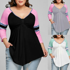 Plus-Size-XL-5XL-Women-T-Shirt-Blouse-Top-Raglan-Sleeve-Empire-Waist-Loose-Tee-L