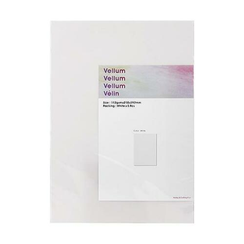 Hobby /& Crafting Fun A4 Vellum Paper 5pcs White #2203