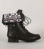 Womens Newsprint Cuff Military Lace Up Combat Boot Pu-leather Motorcycle Riding