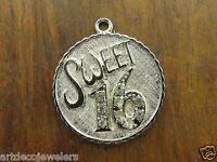 Vintage sterling silver HAPPY BIRTHDAY SWEET SIXTEEN 16 CZ DISC PENDANT charm #D